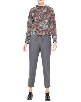 Valentino Butterfly Printed Sweatshirt & Flannel Drawstring Pants