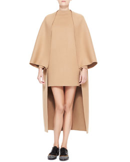 Valentino Long Cape-Sleeve Double Felt Coat & Dolman-Sleeve Double-Felt Shift Dress