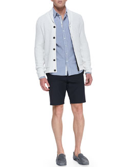 Rag & Bone Perforated Knit Shawl Cardigan, Button-Down Oxford Shirt & Cotton-Blend Beach Shorts