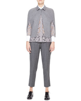Valentino Short Double Felt Capelet, White-Collared Lace Tunic & Flannel Drawstring Pants