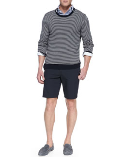 Rag & Bone Jayden Striped Crewneck Sweater, Button-Down Oxford Shirt & Cotton-Blend Beach Shorts