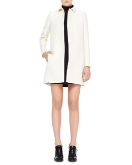 Valentino Contrast-Back-Pleat Wool-Blend Coat & Sleeveless Crepe Dress with Two-Piece Illusion