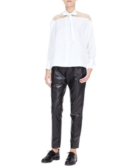 Valentino Sheer-Yoke Self Tie Side-Slit Blouse & Flannel Drawstring Pants