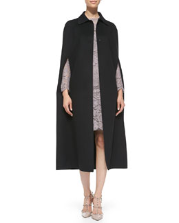 Valentino Long Butterfly-Applique Cape & Long-Sleeve Lace Sheath Dress