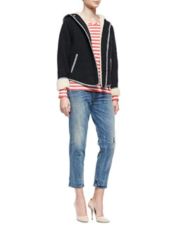 MARC by Marc Jacobs Willier Quilted-Knit Hooded-Jacket & Pam Stripe-Jersey Long-Sleeve Tee & Jessie Boyfriend Cropped Denim Jeans
