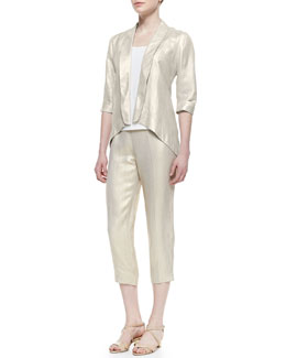 Alberto Makali Metallic Half-Sleeve Jacket, Scoop-Neck Tank & Metallic Cropped Pants