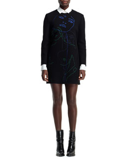 Stella McCartney Embroidered Wool-Blend Shift Dress & Long-Sleeve Button-Front Tuxedo Blouse