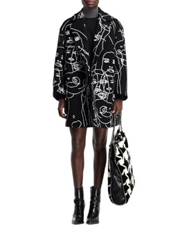 Stella McCartney Embroidered Swing Coat, Asymmetric Seamed Turtleneck & Wool & Faux-Leather Striped Skirt