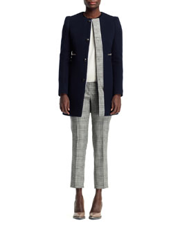 Stella McCartney Jewel-Neck Plaid-Trim Coat, Cashmere Colorblock Sweater & Glen Plaid Cropped Trousers