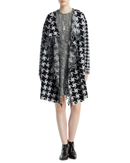 Stella McCartney Houndstooth Blanket Coat with Fringe & Cap-Sleeve Herringbone Jacquard Dress