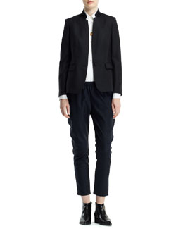 Stella McCartney Fleur Stand-Collar One-Button Jacket, Long-Sleeve Button-Front Tuxedo Blouse & Relaxed Tapered Pants