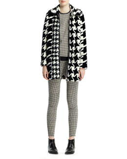 Stella McCartney Houndstooth-Print Faux Fur Coat, Mini-Houndstooth Top & Mini-Houndstooth Jodhpur Pants