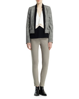 Stella McCartney Glen Plaid Jacket with Zip-Off Lapels, Sleeveless V-Neck Layered Top & Ivy Cotton-Stretch Pants