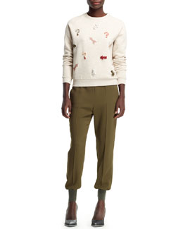 Stella McCartney Embroidered Novelty Applique Sweatshirt & Julia Stretch Cady Cuff-Ankle Harem Pants