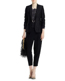 Stella McCartney Halo Dot Jacquard Jacket, Landscape-Print Sweater & Charlotte Clean Front Stretch Cady Ankle Pants
