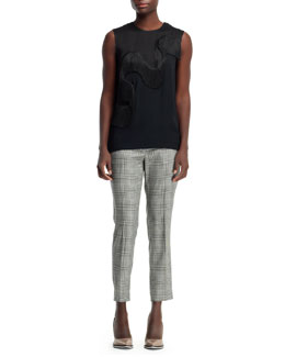 Stella McCartney Fringe-Wave Sleeveless Tee & Glen Plaid Cropped Trousers