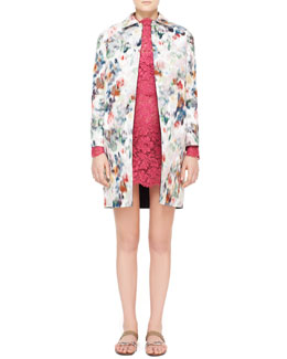Valentino Watercolor Floral Brocade Coat & Lace Scalloped Dress