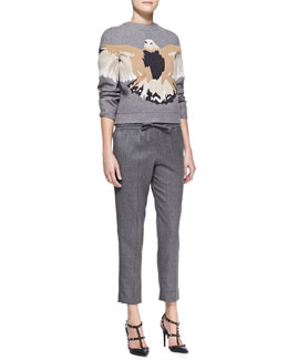 Valentino Embroidered Eagle Sweatshirt & Flannel Drawstring Pants