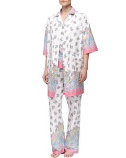 Bedhead Paisley-Border Poplin Robe & Pajamas