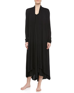 Donna Karan Tissue Crepe Long Robe & High-Low Tank Gown