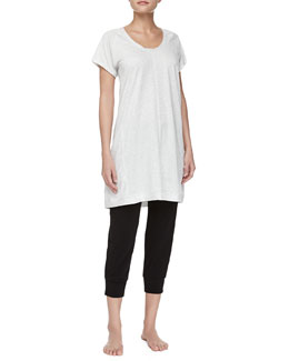 Donna Karan Pima Cotton Short-Sleeve Sleepshirt & Drawstring Capri Pants