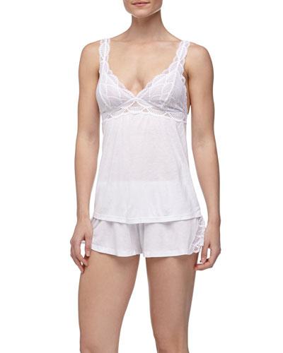 Eberjey Matilda Fanned Lace Cami & Shorts, White