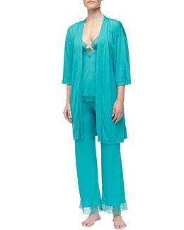 Eberjey Summer Kimono Robe, Camisole & Pants, Turquoise