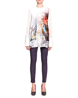 Just Cavalli Sheer Exaggerated-Cuff Top & Laminated Cotton Slim Jeans