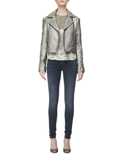 J Brand Ready to Wear Aiah Metallic Leather Moto Jacket, Romy Long-Sleeve Velvet Top & 624 Stacked Super Skinny Mid-Rise Jeans