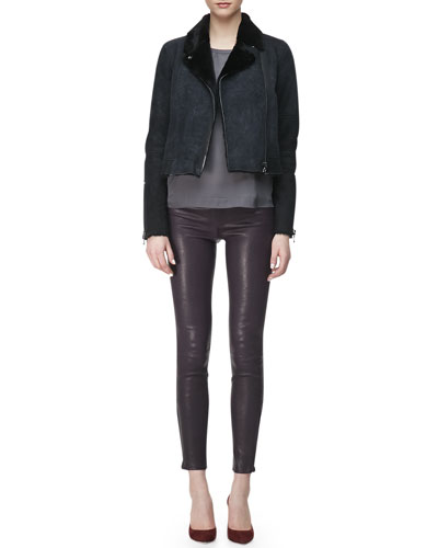 J Brand Ready to Wear Lana Leather Jacket with Fur Collar, Juju Short-Sleeve Silk Blouse & L8001 Leather Leggings