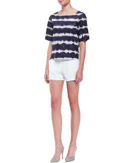 Trina Turk Memphis Tie-Dye Leather Short-Sleeve Top & Fabiana Knit Shorts