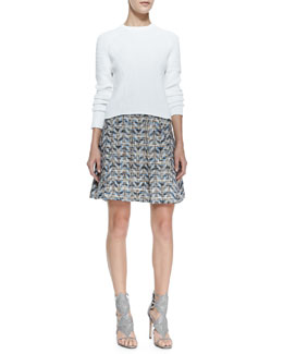 10 Crosby Derek Lam Cropped Eyelet Long-Sleeve Sweater & Chevron Pleated A-Line Skirt