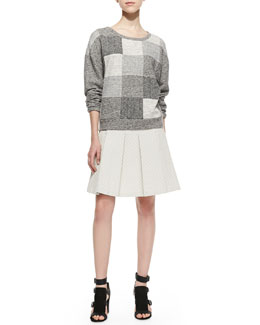 10 Crosby Derek Lam Patchwork Knit Scoop-Neck Sweatshirt & Quilted-Jersey Pleated Skirt