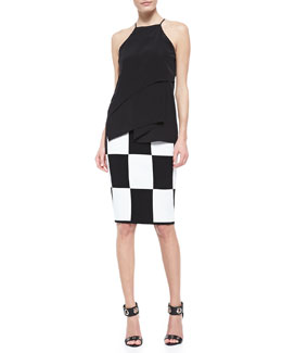 10 Crosby Derek Lam Tiered Draped Silk Cami and Checkerboard Pencil Skirt