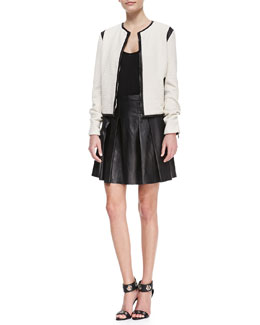 10 Crosby Derek Lam Faux-Leather-Trim Cardigan Jacket, Low-Cut Jersey Tank & Pleated Faux-Leather Skirt