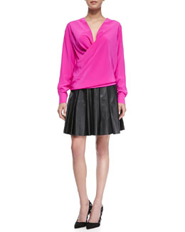 10 Crosby Derek Lam Long-Sleeve Drape-Front Blouse & Pleated Faux-Leather Skirt