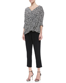 10 Crosby Derek Lam Mixed-Print Drape-Front Blouse and Cropped Track Pant Trousers