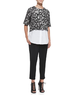 10 Crosby Derek Lam 2-in-1 Printed Combo Sweatshirt and Cropped Track Pant Trousers