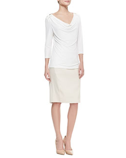Carmen by Carmen Marc Valvo 3/4-Sleeve Cowl-Neck Top & Pencil Skirt with Faux-Leather Cutout