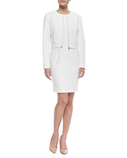Carmen by Carmen Marc Valvo Crewneck Zip Crop Jacket & Sleeveless Geometric-Top Sheath Dress