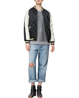 McQ Alexander McQueen Quilted Bomber Jacket, Sequin Knit Crewneck Sweater & Patched Boyfriend Jeans