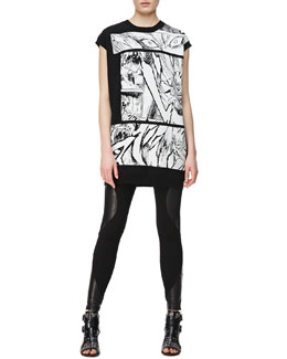 McQ Alexander McQueen Manga Bunny Jacquard Knit T-Shirt & Engineered Leather/Knit Swirl-Panel Leggings