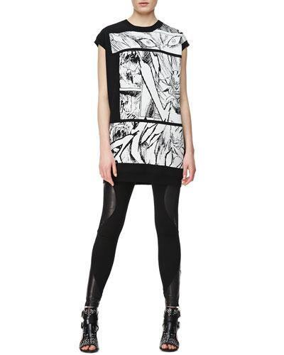 McQ Alexander McQueen Manga Bunny Jacquard Knit T-Shirt & Engineered Leather/Knit Swirl-Panel Leggings