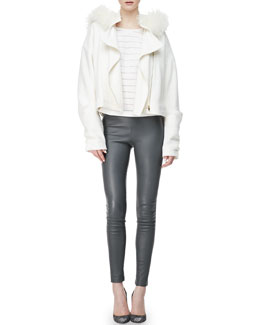 L'Agence Oversized Fur-Hood Jacket, Wool-Blend Stripe Cocoon-Sleeve Top & Lambskin Leggings