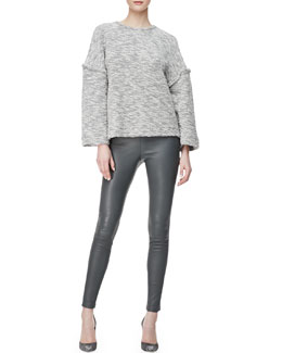 L'Agence Reverse-Seam Knit Sweater & Lambskin Leggings