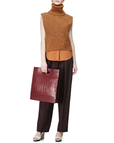 3.1 Phillip Lim Sleeveless High-Low Turtleneck Sweater, Sleeveless Poplin Blouse & Wool Wide-Leg Trousers