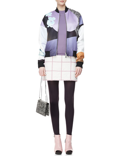 3.1 Phillip Lim Dropped-Shoulder Printed Bomber Jacket, Arc Line Long-Sleeve Top & Grid Miniskirt