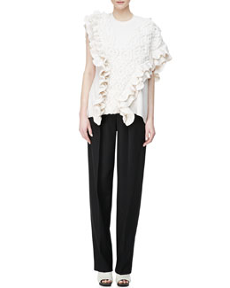 3.1 Phillip Lim Crochet Cable-Knit Tank & Wool Wide-Leg Trousers