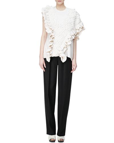 3.1 Phillip Lim Crochet Cable-Knit Tank & Wool Wide-Leg Trousers