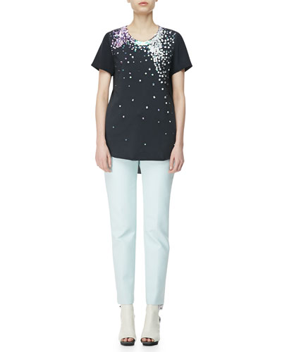 3.1 Phillip Lim Short-Sleeve T-Shirt with Sequins & Twill Pencil Pants
